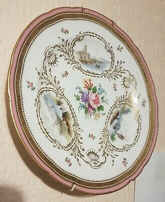 £160 • Buy Antique Minton Pink Scene Hand Painted Gold Gilt Exquisite Cabinet Plate 1800's
