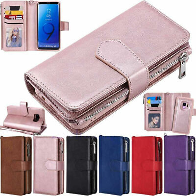 AU17.25 • Buy Zipper Leather Wallet Case For Samsung S20 S10 S8 S9 Plus Note 20 10 9 Removable