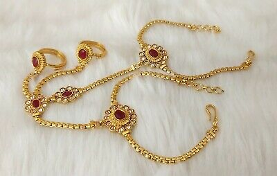 £15.99 • Buy Indian Jewelry Hath Punja Bollywood Ethnic Gold Plated Bracelet With Rings