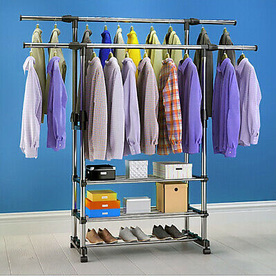 £12.99 • Buy Double Clothes Rail Garment Coat Hanging Display Stand Shoes Rack With Wheels