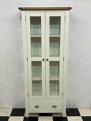 £175 • Buy Chester White Painted Oak Top Glazed Bookcase Display Cabinet RRP £379 -Delivery