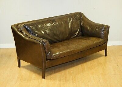 £750 • Buy Very Compact Halo Leather Conker Brown Sofa