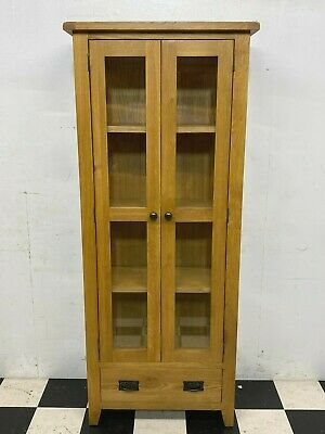 £195 • Buy Modern Rustic Oak Glazed Bookcase Display Cabinet With Drawer RRP £379 -Delivery