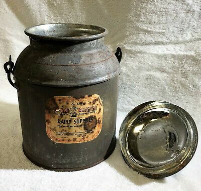 $35 • Buy BARN FIND - 4 QUART Milk Can With Sears Paper Label