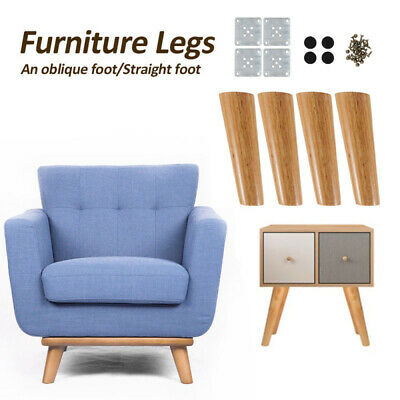 AU24.69 • Buy 4 Pack 15cm Natural Wood Furniture Legs Shaped Wooden Feets Cabinet Table Legs