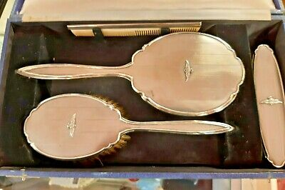 £145 • Buy Silver Dressing Table Set With RAF Emblems In Travel Case By Adie Bros 1941
