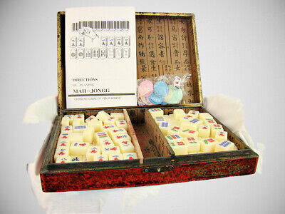 $45 • Buy Vintage Chinese Mahjong Board Game Set With Resin Tiles Asian Red Case Included