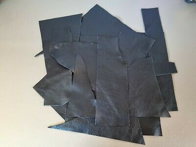 £4.49 • Buy Black Real Leather Bundle Various Sizes Arts Crafts Repairs Upholstery Remnants