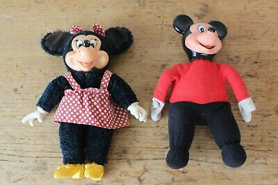 £9.95 • Buy Vintage Mickey And Minne Mouse Bean Bag Bases With Plastic Faces - Height = 10