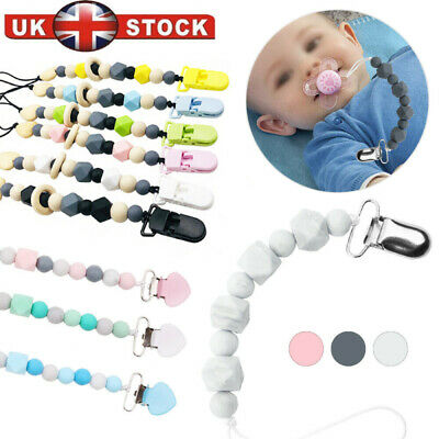 £2.59 • Buy Dummy Clip Holder Baby Pacifier Clips Teething Beads Soother Chains Silicone UK