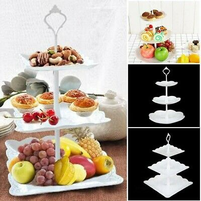 £6.98 • Buy 3 Tier Glass Plastic Cake Stand Afternoon Tea Wedding Plates Party Tableware FE