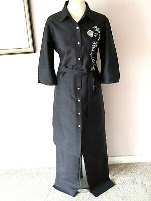 £24.99 • Buy GREAT M&S BLACK SHOT SILK EMBROIDERED COAT JACKET TROUSER SUIT - Size 14 16