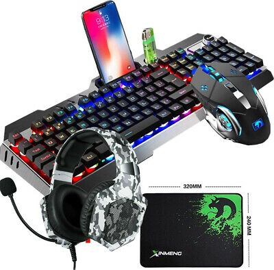 AU72.99 • Buy Gaming Combo Keyboard Mouse + Headset + Mat RGB LED Backlit For PC PS4 Xbox One