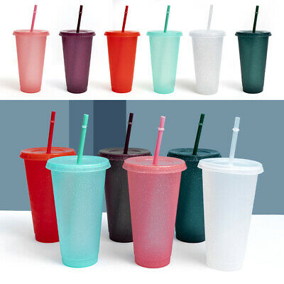 £5.09 • Buy UK Reusable Flash Powder Shiny Plastic Water Bottle Cold Cup With Lid And Straw