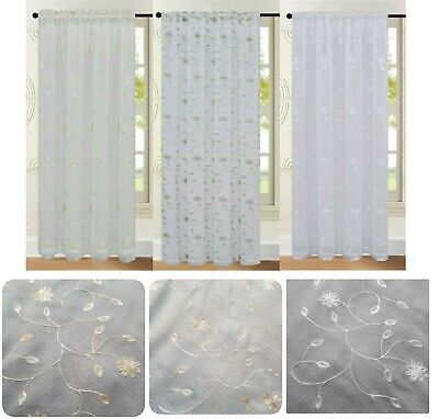 £10.99 • Buy Single Panel Floral Embroidered Voile Net Curtain Panel Rod Pocket Slot Top