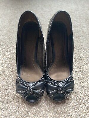 £6.99 • Buy Next Sole Reviver Black Bow Peep Toe Shoes With Contrast Stitching UK Size 4