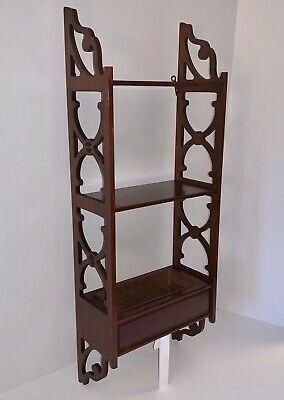 $74.99 • Buy Vintage Butler Mahogany Display Wall Shelf With Fretwork Sides & Copper Planter
