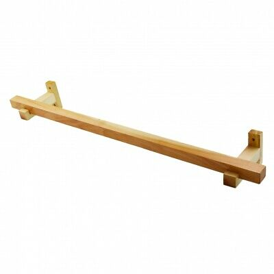 £15.99 • Buy Towel Rail Wall Mounted Wooden Bathroom Towels Holder 80 Cm Pine Lacquer