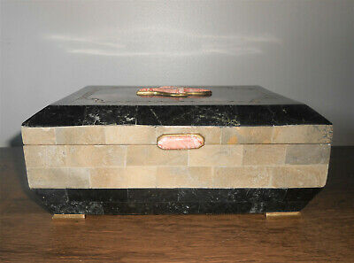 $275 • Buy Vintage Maitland Smith Tessellated Marble Stone Box Footed Wood Interior