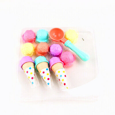 £9.25 • Buy 17pcs Ice Cream Play Set Pretend Play Cones Scoops Food Toy Playset Kids Kitchen