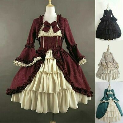£29.99 • Buy Lady Gothic Lolita Dress Tiered Ruffle Vintage Medieval Victorian Costume Fairy