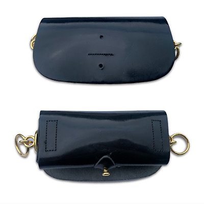 £50 • Buy BLACK PATENT LEATHER CROSS BELT POUCH W/ Gold Metal Fixtures - British Army NEW