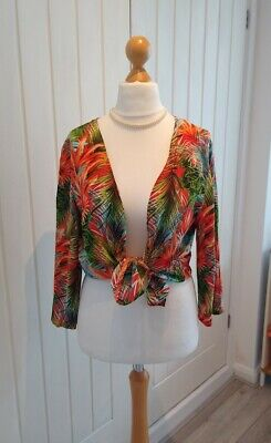 £7 • Buy Ladies Bright Orange Tropical Print Open Shirt Tie Shirt Cover Up Size 10/12
