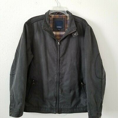 $34.99 • Buy Gazman Leather Look Jacket Size Large Flannel Lined Distressed Look Elbow Patch