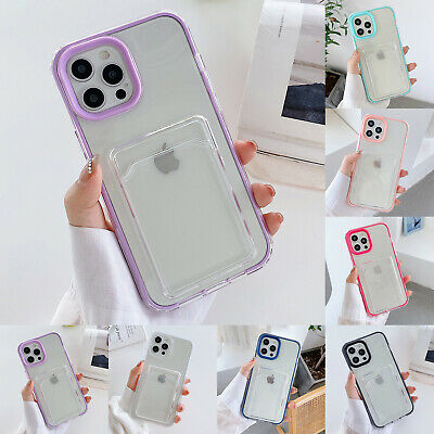 AU8.79 • Buy Clear Case For IPhone 12 11 Pro Max XS Max XR X 8 7+ Wallet Card Slot TPU Cover