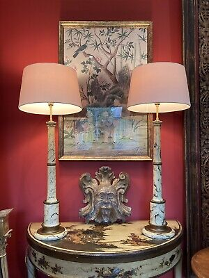 £250 • Buy Pair Of  Tall Vintage Faux Marble Column Table Lamps Refurbished