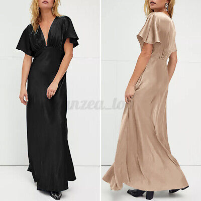 £10.49 • Buy Womens Sexy V Neck Satin Maxi Cocktail Dress Ladies Short Sleeve Party Ball Gown