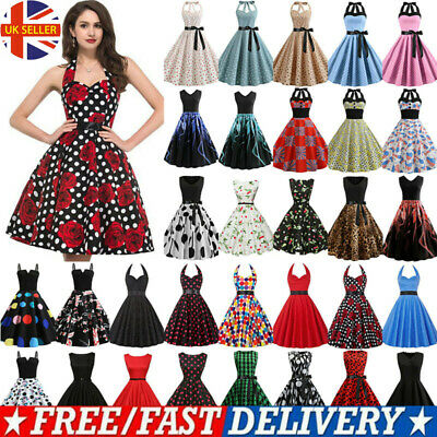 £13.09 • Buy Women Vintage Rockabilly 50s 60s Party Cocktail Evening Pinup Swing Midi Dress