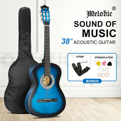 AU59.95 • Buy Melodic 38 Inch Round Acoustic Guitar Pack Classical Cutaway W/Backpack Strap