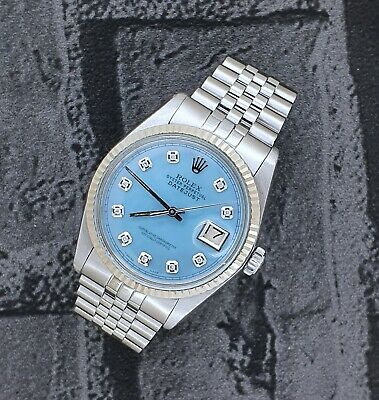 $ CDN8284.53 • Buy Mens Steel & White Gold Rolex Datejust - Ice Blue Diamond Dial + Box And Papers