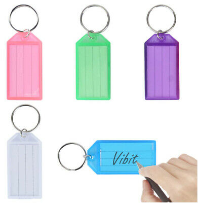 $ CDN1.25 • Buy 10 Pack Plastic Key Tags Container Key Labels With Ring &Label Window 5 Colors