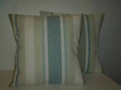 £9.99 • Buy Laura Ashley Awning Stripe Pistachio / Duck Egg Pair Of 16  Cushion Covers