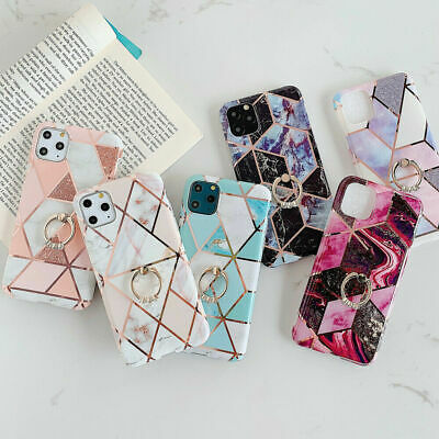 AU13.99 • Buy For IPhone 11 12 XR XS X SE 2020 8 7 Marble Phone Cover Silicone With Ring Case