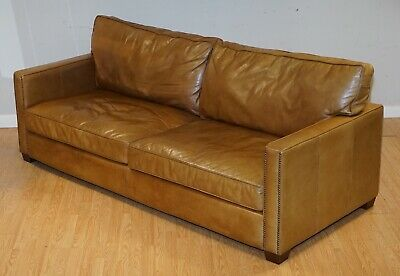 £1250 • Buy Timothy Oulton Halo Viscount Three Seater Tan Leather Sofa
