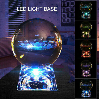 £12.34 • Buy 60mm 3D Clear Glass Engrave Solar System Carving Crystal Ball +Base Deccor Gift