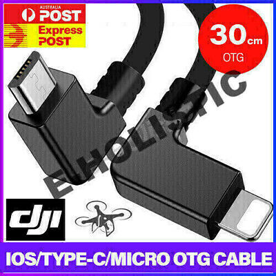 AU9.95 • Buy 90° Micro USB Cable Type C OTG 30cm For DJI Spark Mavic Pro IPad IPhone Android