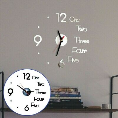 £7.13 • Buy Modern Large Wall Clock 3D Mirror Sticker Unique Big Number Watch DIY Decor Use