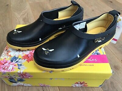 £44.95 • Buy BNIB Joules Womens Pop On Short Welly Clogs Wellies - Black Bumble Bees New RARE