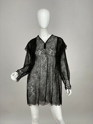 £104.45 • Buy Antique Victorian Edwardian Black Chantilly Lace Handmade Blouse, Mourning Shirt
