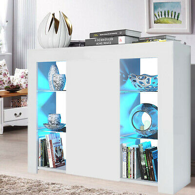 £83.99 • Buy Cabinet Cupboard Sideboard TV Unit Matt Body And High Gloss Doors With LED Light
