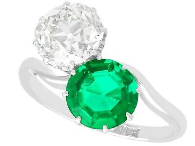 £39950 • Buy Antique 1.70 Ct Colombian Emerald And 2.18 Ct Diamond Platinum Twist Ring