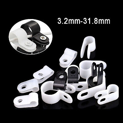 £1.19 • Buy Black & White Nylon Plastic P Clips Clamp - Fasteners For Cable & Tubing & Hose