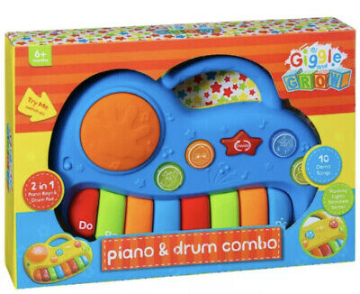 £9.70 • Buy Giggle & Grow Piano & Drum Combo - Blue Children's Toys New In Box 6 Months +