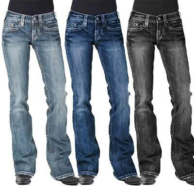 £13.59 • Buy NEW Womens Casual Washed Bootcut Jeans Flared Pants Low Rise Denim Trousers