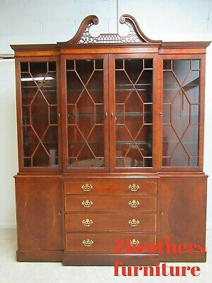 $2395 • Buy Baker Furniture Chippendale Mahogany Slender Breakfront Hutch China Cabinet