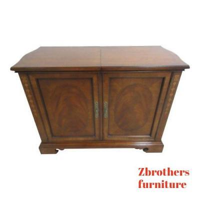 $1039 • Buy Drexel Heritage Flame Mahogany Inlaid Banded Bar Liqour Cabinet Server Heirlooms